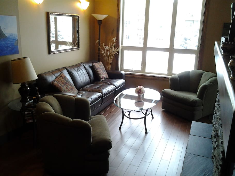 Family room with pull out couch, 2 chairs, propane fireplace, central air conditioning