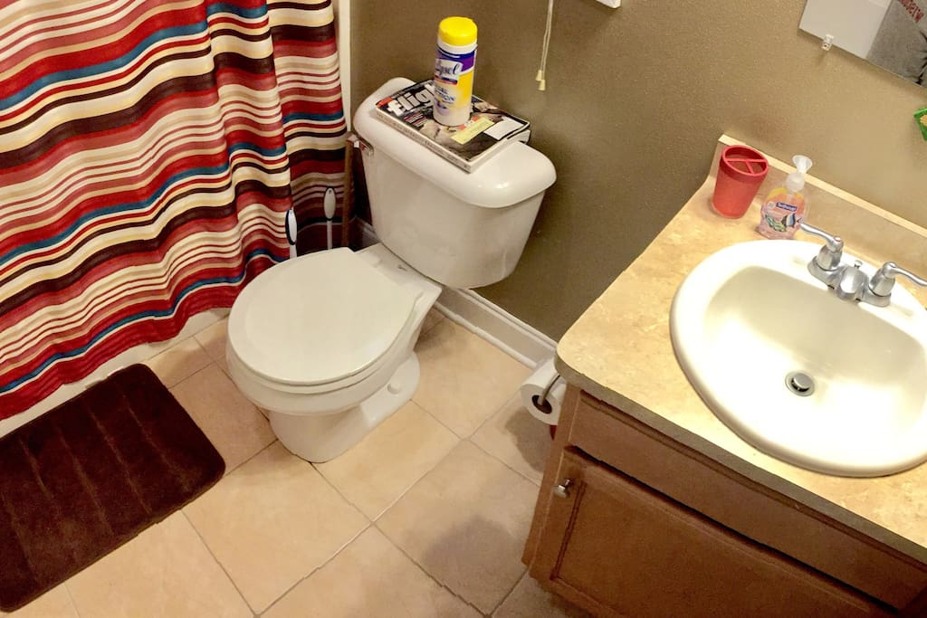 Your full bath next to the guest bedroom.