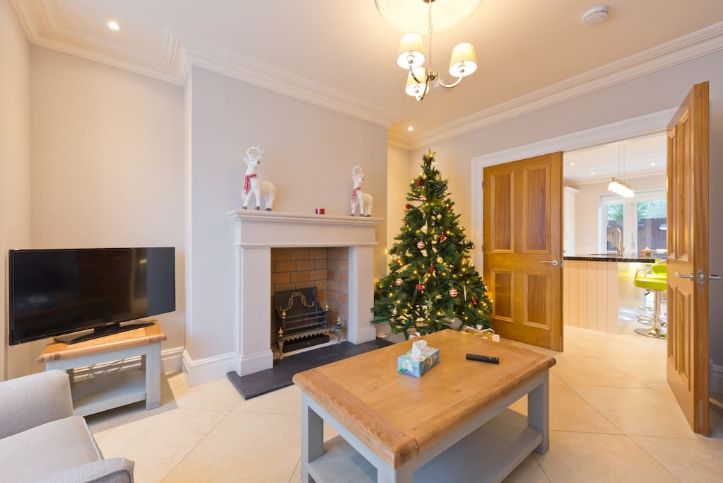 "Living Room, with Christmas Tree, open fireplace and 40"" TV"
