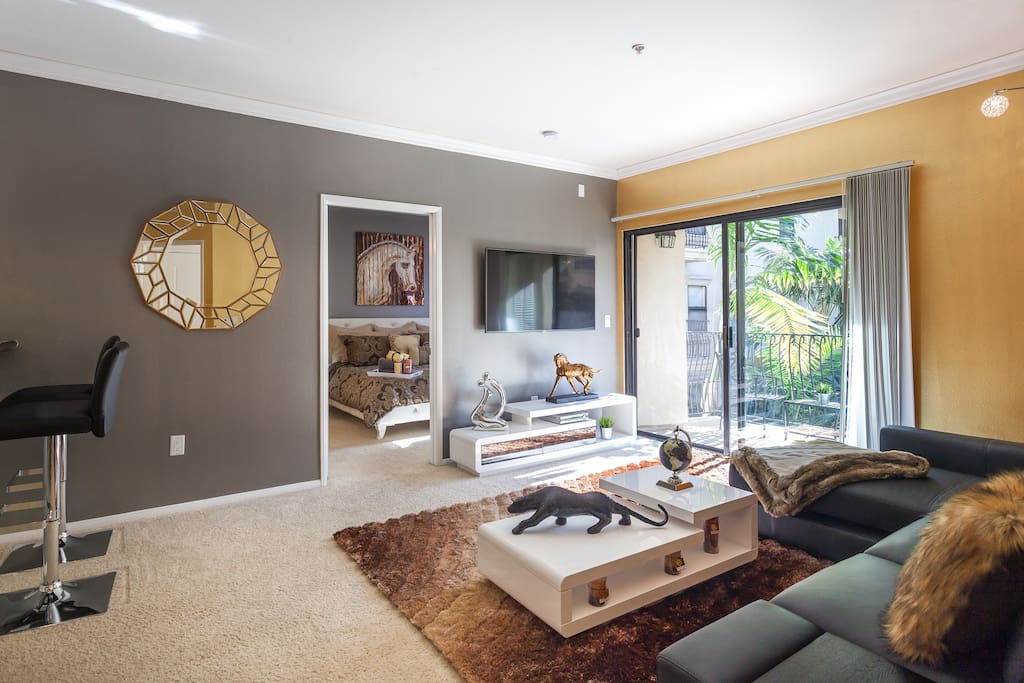 Spacious living room with high end furniture