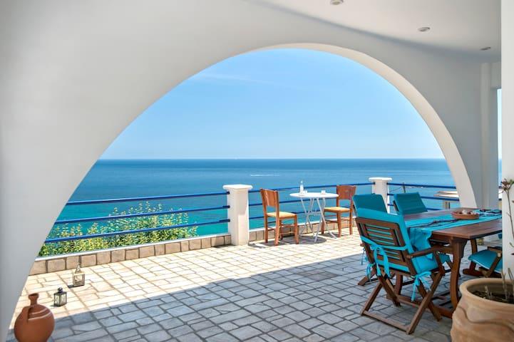 Main veranda with sea views