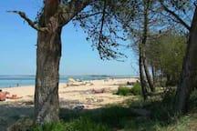 La plage de Trousse Chemise et son banc du Bûcheron