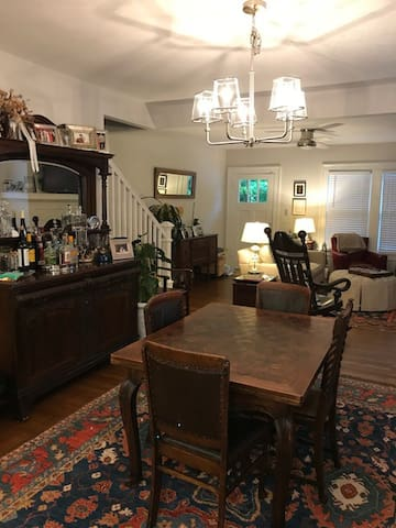 Antique bar, expandable french parquet table, TV/living room 54 inch TV expanded sport channels and Xifnity High-speed internet DVR
