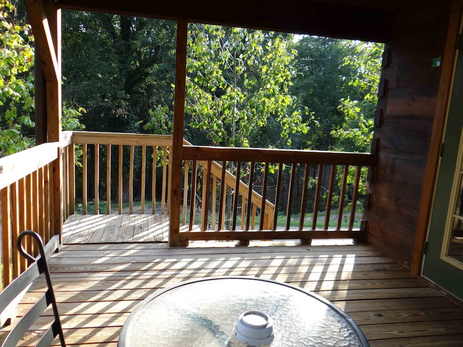 This is the view from the covered porch on the Smoky Mountains Cabin.