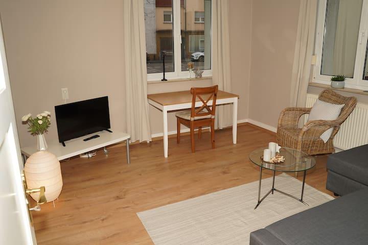 Wohnzimmer mit Schlafsofa für bis zu zwei weitere Personen.
