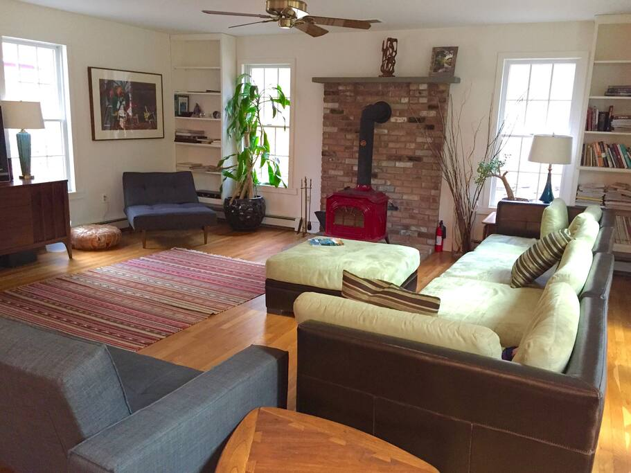 Our massive living room has plenty of room for a large group and is open to the  adjacent dining area and kitchen