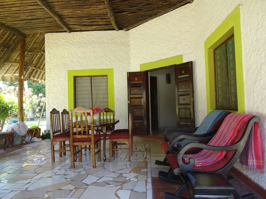the veranda where guests can eat and rest under the makuti shade