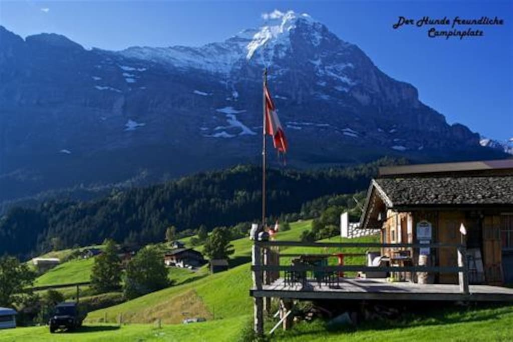 Reception with the Eiger north face in the back
