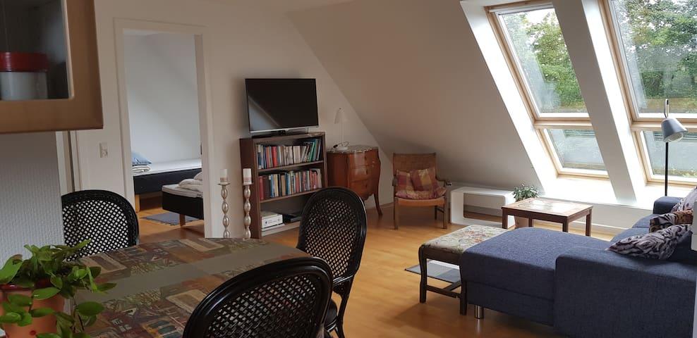 Stue med sofa, spisebord og fjernsyn
