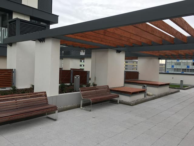 Smoking area on the terrace of the building