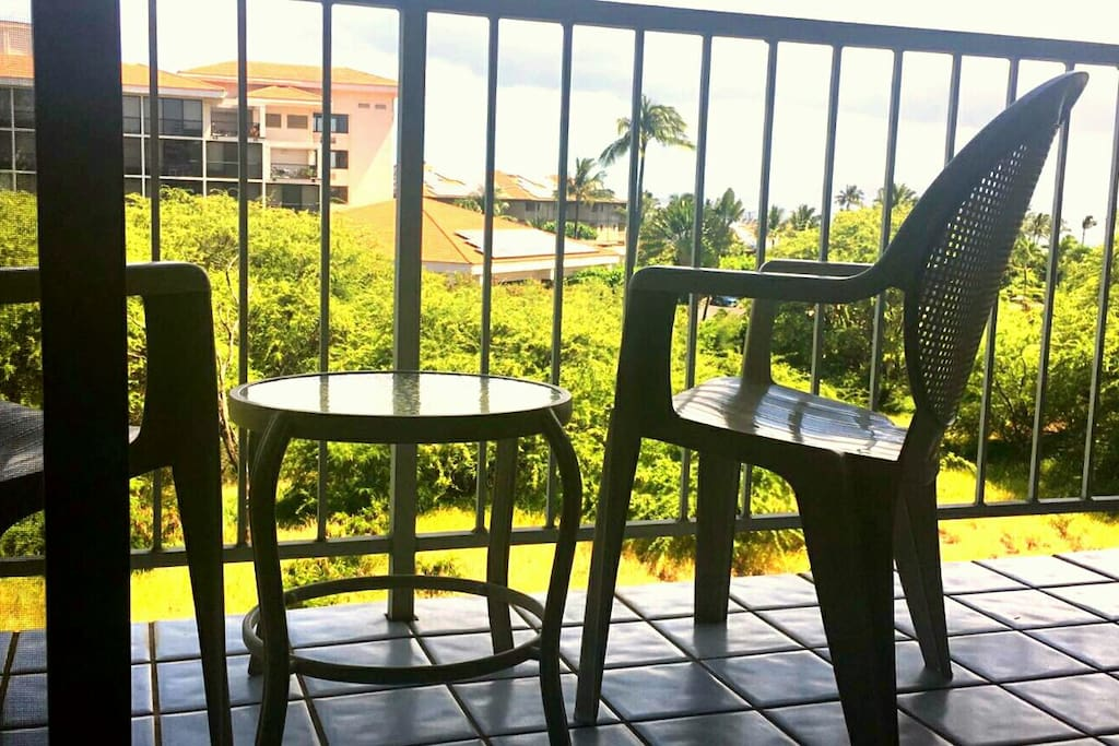 Relax on the lanai, have a drink and feel the breeze while enjoying views of Haleakala, partial ocean views, lots of greenery and palm trees swaying in the trade winds!