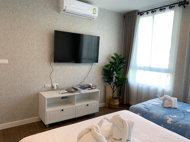 Bed room, we have 2 televisions, one in living room and other in bedroom