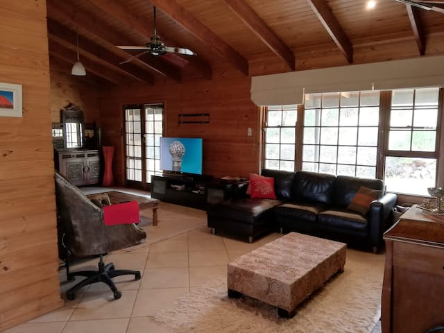 lounge room with Netflix and open fireplace