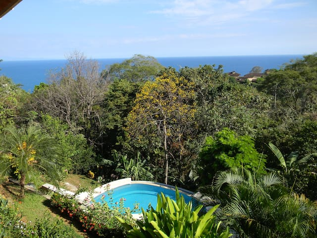 This is a view from the deck. The pool is for your use. It is shared with our other rental, Casa Tranquila. It is a salt water pool and runs off a solar system.