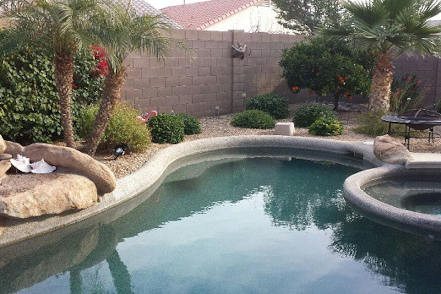 Backyard pool and hot tub.  Pool not heated in winter.