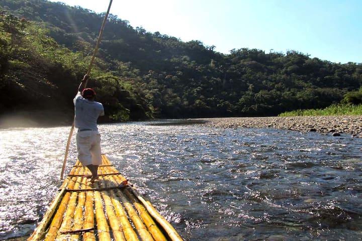 Enjoy a serene ride down the Rio Grande on a bamboo raft.