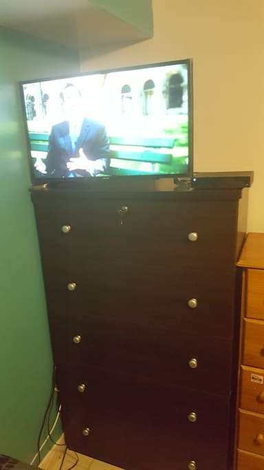 32in TV on dresser in room for rent