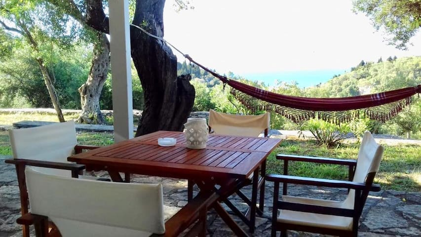 Terrace with views over a hammock to the sea