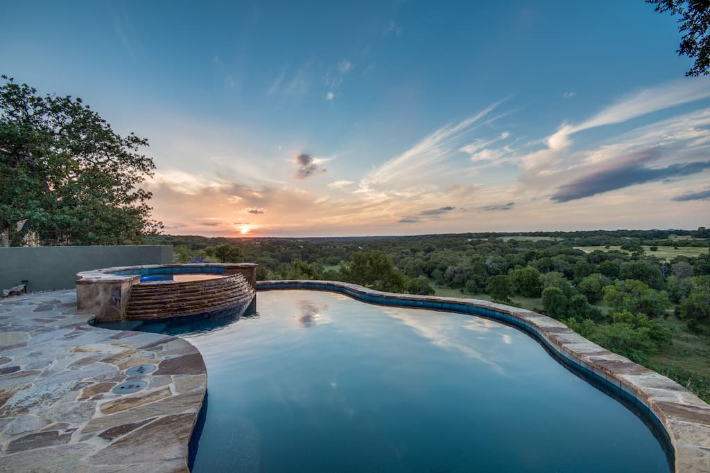 Hill Country Sunsets in the Pool