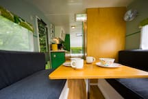 Cozy built-in seating in your bespoke caravan