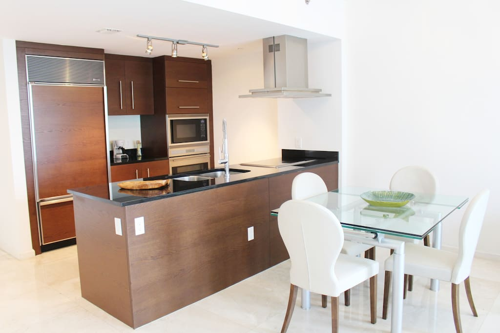 Fully equipped kitchen, modern cabinets