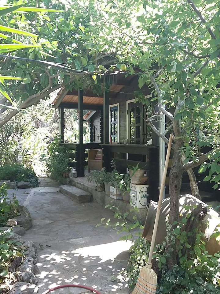 Very private romantic chalet in fairytale garden.