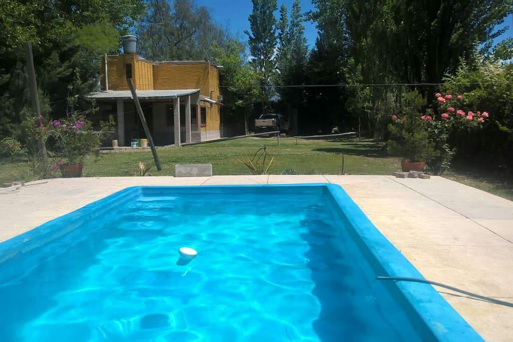 La piscina es apta para nadar, sus dimensiones son 7x3x 1.60 mts. de profundidad. Parque de 1000 mts.