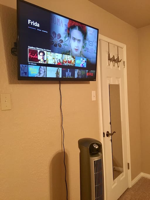 TV with Amazon fire TV stick (access to Netflix, HBO Go, Amazon Prime Video, and Pandora), closet with full length mirror, and a tower fan for your comfort