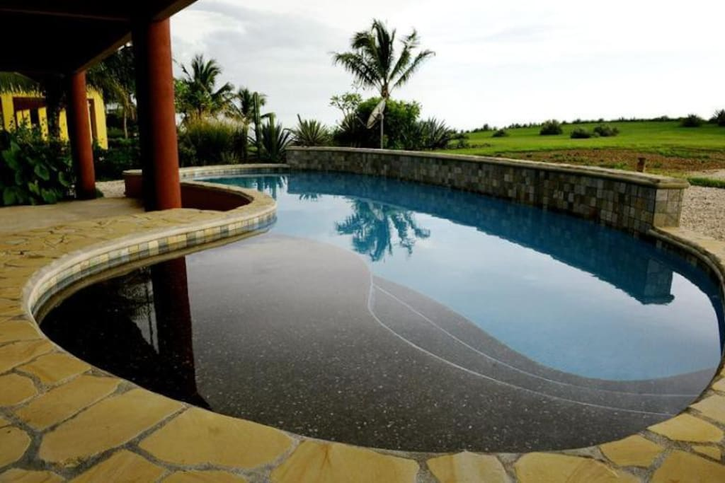 Inviting saltwater pool with undercover patio with BBQ and loungers