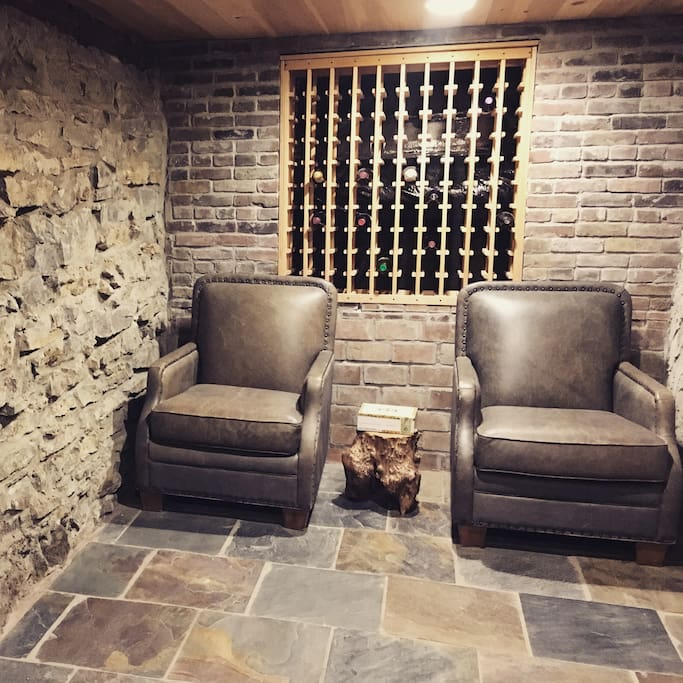 Seating in the wine cellar.