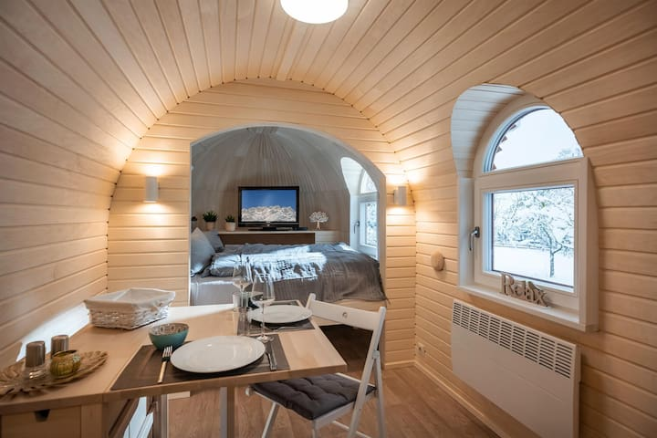 Mobilheim, Dusche, WC, 1 Schlafraum, Sabindls Kaiser Lodge