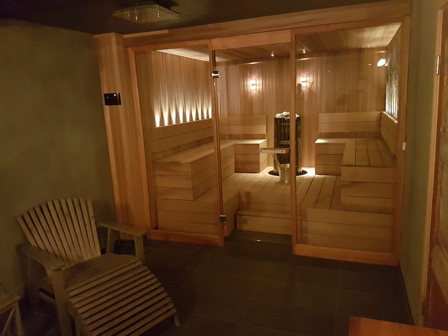The Spa features a luxurious Sauna and a relaxing area.