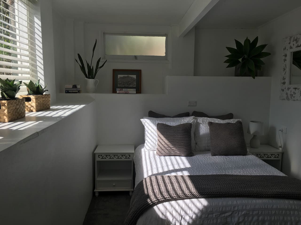 Main bedroom with double bed, fresh organic linen and towels. Hanging space available.