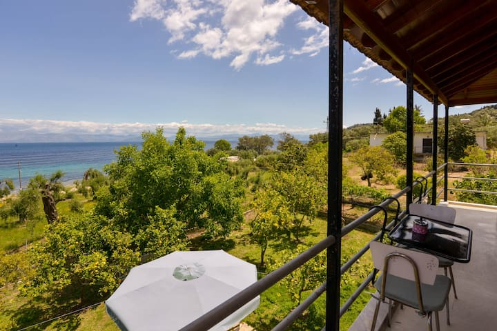 Corfu Beach house with garden,parking, sea view