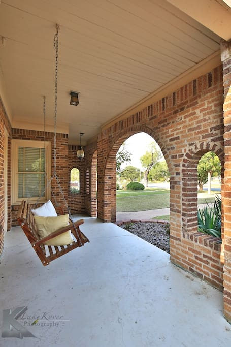Porch swing to drink your morning coffee and take in the Sayles charm