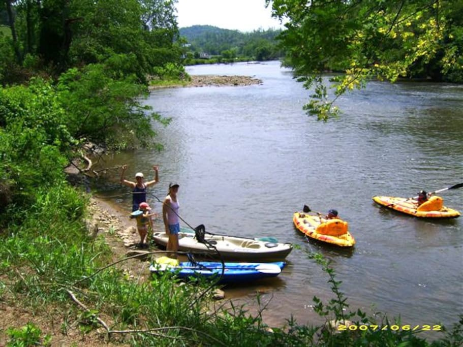River Access for Kayaking, Fishing and Swimming.