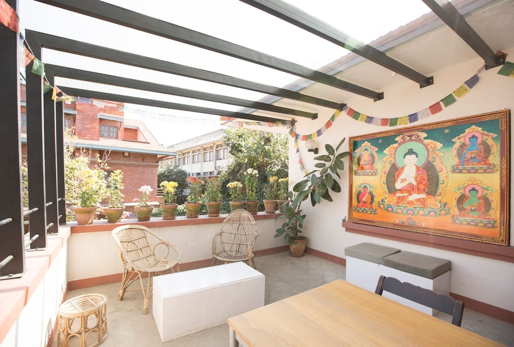 Enjoy the sun and feel the rain in this beautiful shared terrace of our home.
