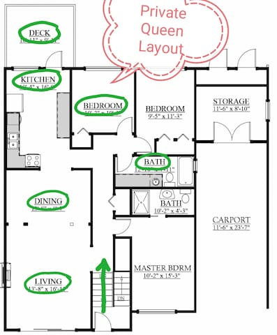 Layout of upper floorplan. Shared kitchen, livingroom and dining room. Bathroom shared with other back bedroom.