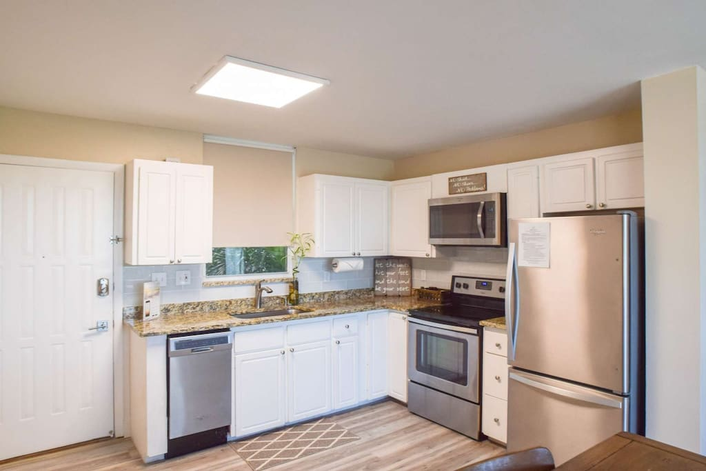 Completely updated and modern; full sized stainless steel appliances, granite countertops, and tiled backsplash.