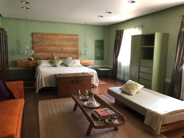 Espaciosa recamara principal con cama king size y cama individual