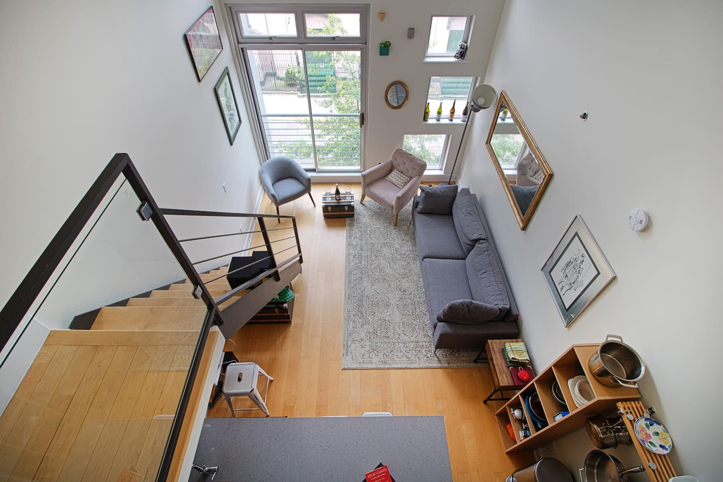 Extremely high ceilings. Lots of windows. Plenty of natural light.
