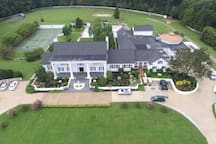 Aerial photo of the front of the property