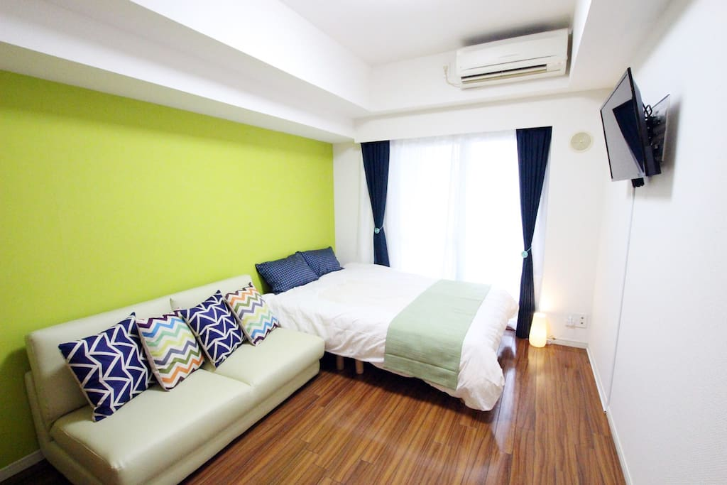 Cozy room with 1 double beds and sofa bed.
