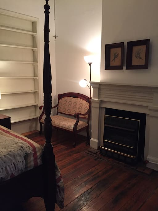 Settee with reading light and built in bookshelf.