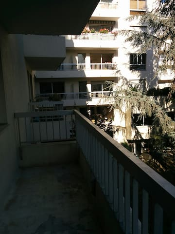 Big 6m2 balcony that gives to a private, quiet garden you have access to.
