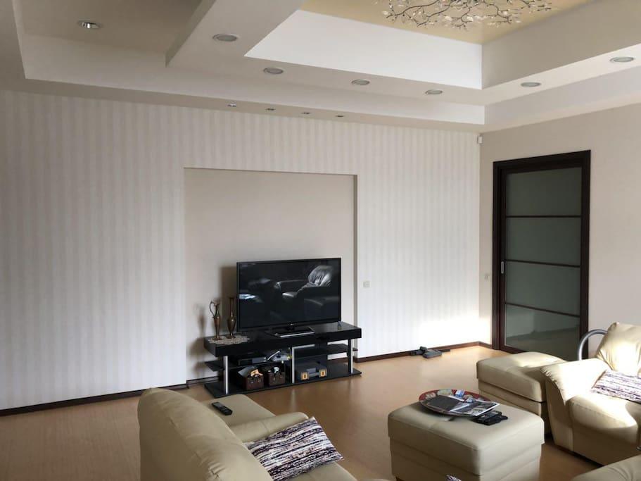 Large living room, Sofa bed / Большая гостиная, диван раскладывается