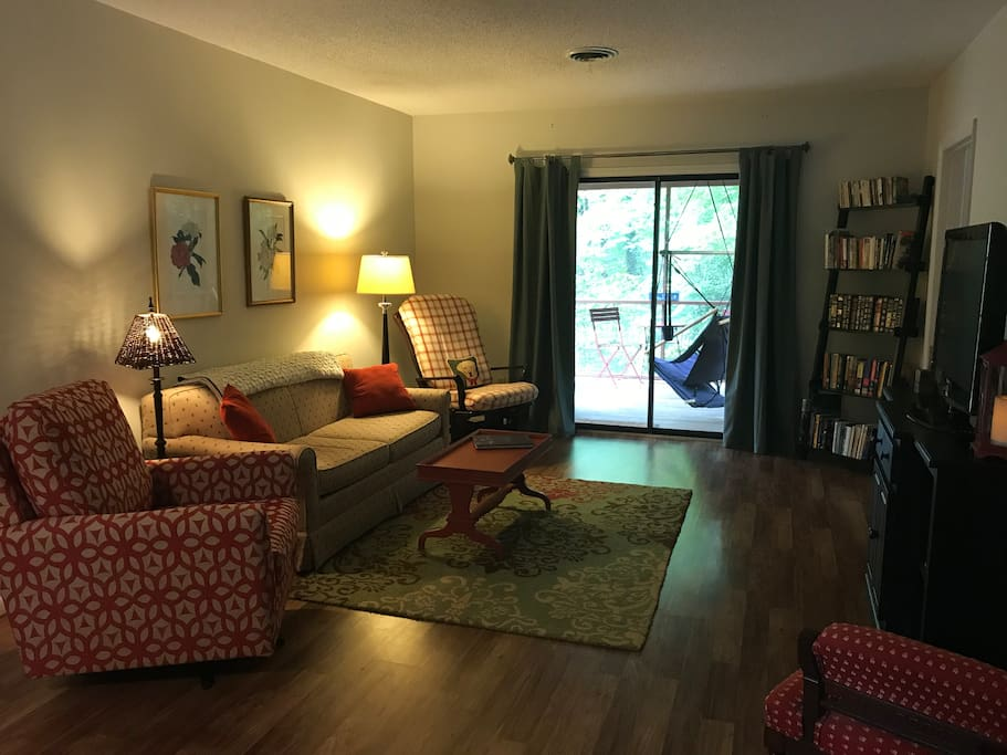 Spacious den with a pullout bed. HDTV offers Amazon and Netflix. Dining table for 4 behind this view (not pictured). WIFI also avail. And best of all, lots of great books!