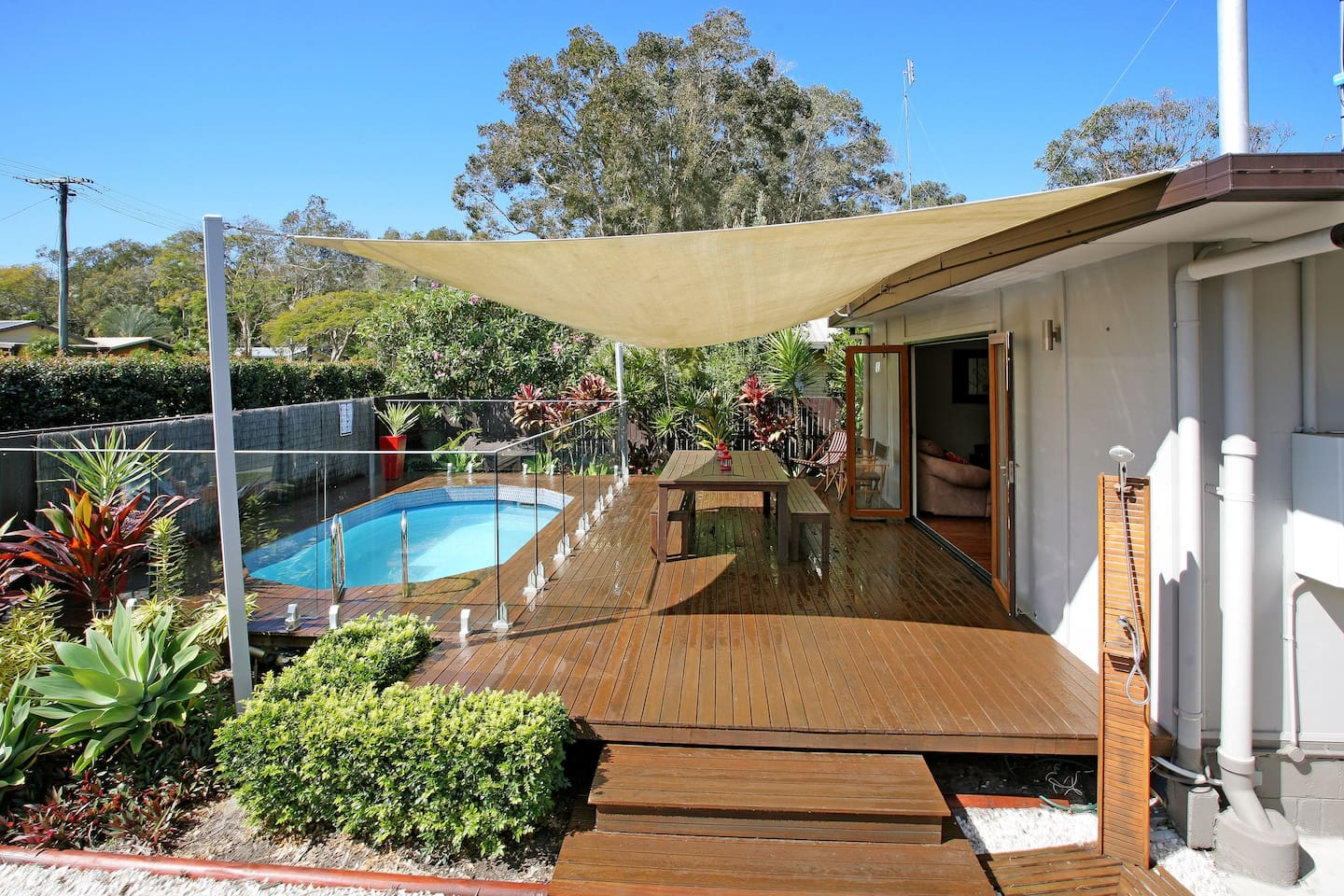 Deck and pool area with BBQ