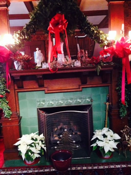 Fireplace in Foyer at Christmas