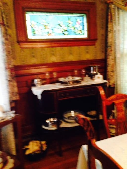 Dining room & stained glass window